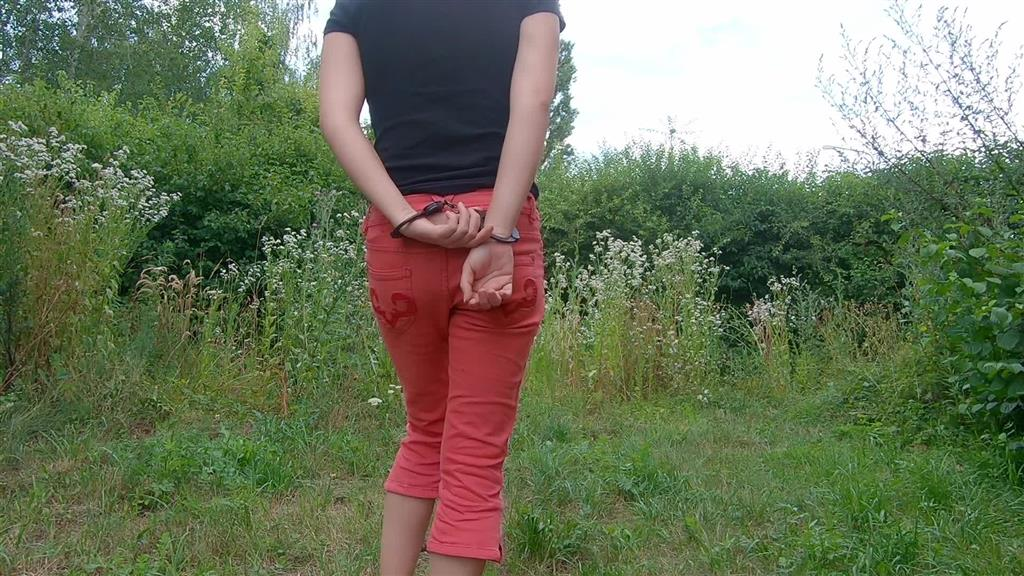 handcuffs and jeans pissing