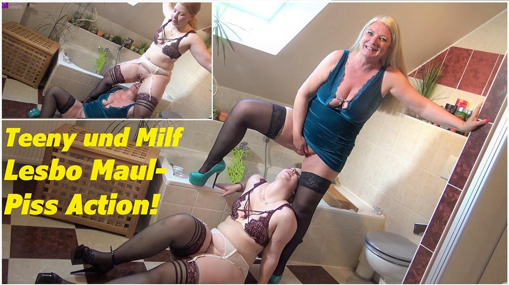 Teeny und Milf Lesbo Maul-Piss Action!
