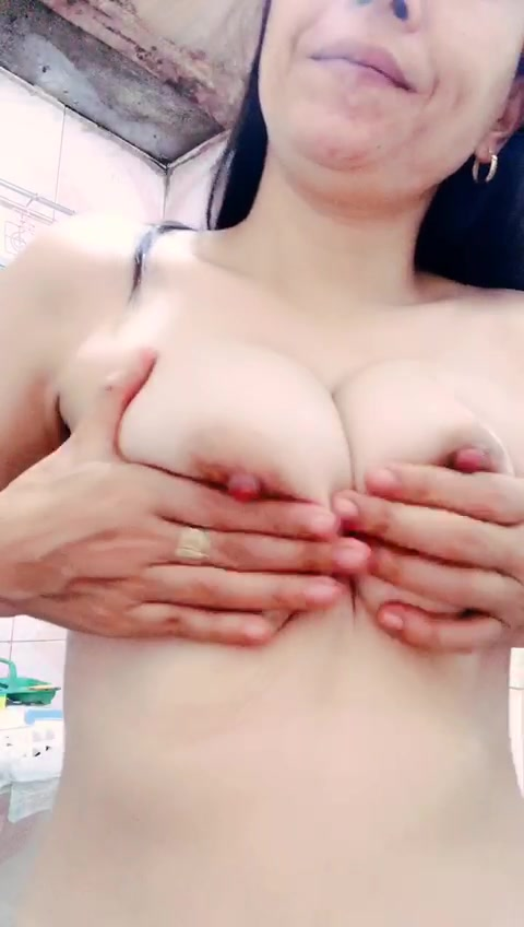 Asian Girlfriend playing with her own  spit