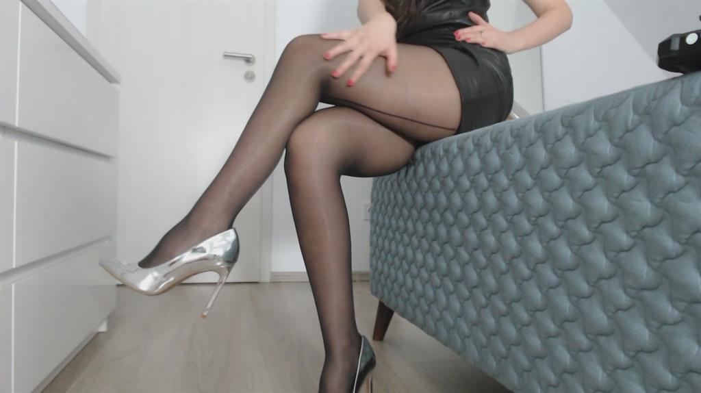 nylons legs and silver high heels
