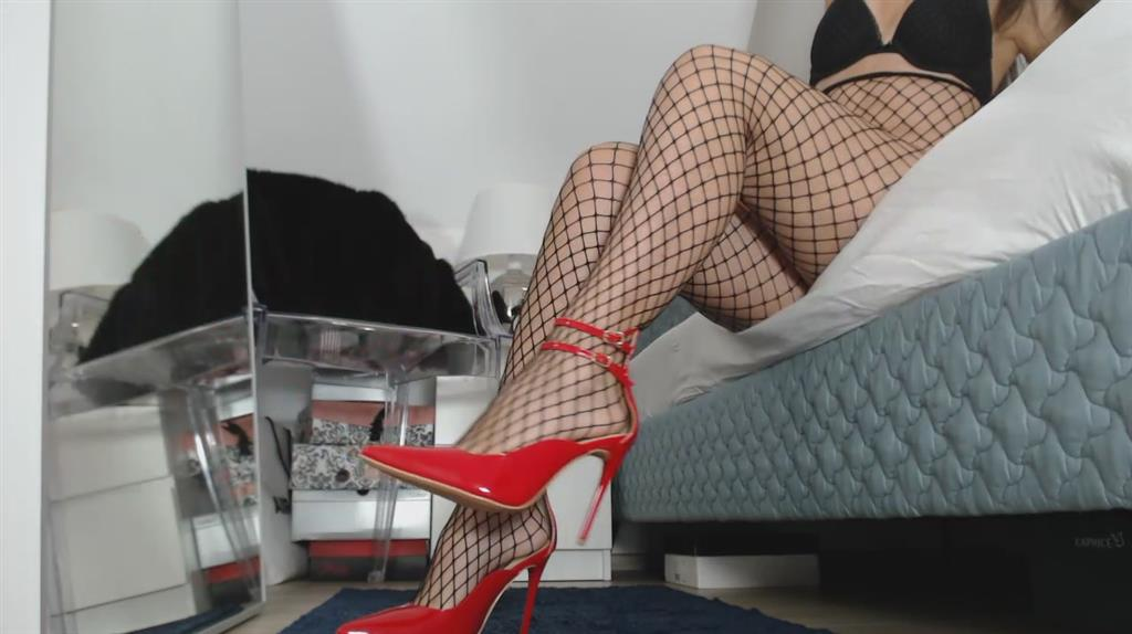 fishnet tights and  double ankle strap court shoe